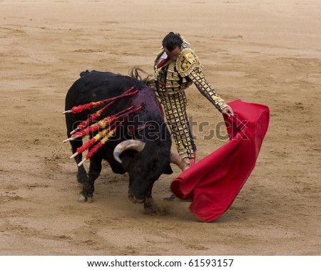 "BARCELONA - JUNE 6: ""Corrida"" (bullfighting) of bulls, typical Spanish tradition where a torero (bullfighter) kills a bull. In the picture, ""Finito de Cordoba"". June 6, 2010 in Barcelona (Spain)."