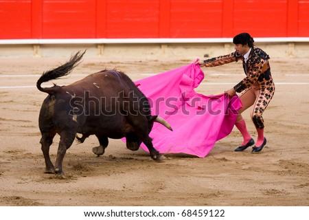 "BARCELONA - JUNE 6: ""Corrida"" (bullfighting) of bulls, typical Spanish tradition where a torero (bullfighter) kills a bull. In the picture, ""Rafael Cuesta"". June 6, 2010 in Barcelona (Spain)."