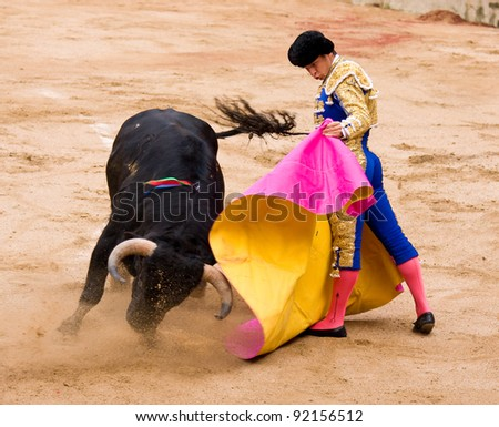 BARCELONA - JUNE 6: Julian Lopez El Juli in action during a corrida de toros or bullfight, typical Spanish tradition where a torero or bullfighter kills a bull on June 6, 2010 in Barcelona, Spain.
