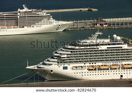 BARCELONA - JUNE 24: Large cruise ships Costa Serena and Splendida docking in a Barcelona port, the most important cruiser port in the mediterranean sea, June 24, 2011 in Barcelona, Spain