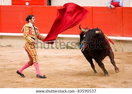 BARCELONA - JUNE 6: Morante de la Puebla in action during a corrida de toros or bullfight, typical Spanish tradition where a torero or bullfighter kills a bull on June 6, 2010 in Barcelona, Spain.