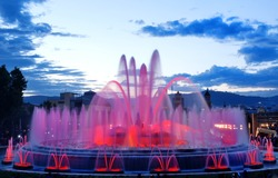 Barcelona magic fountain in Plaza de Espana, Spain, Europe