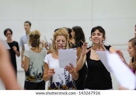 BARCELONA MAR 3 Actors rehearsal Commedia dell'arte on March 3 2011 in Barcelona Spain Is a form of theater characterized by masked types which began in Italy