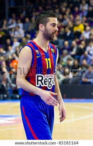BARCELONA - MARCH 24: Juan Carlos Navarro of Barcelona in action during the Euroleague basketball match between FC Barcelona and Panathinaikos, 71-75, on March 24, 2011 in Barcelona, Spain.