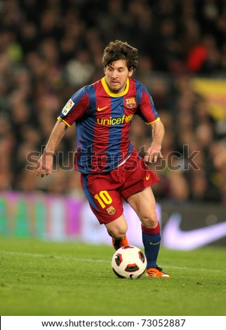 BARCELONA MARCH 5 Leo Messi of Barcelona during the match between FC Barcelona and Real Zaragoza at the Nou Camp Stadium on March 5 2011 in Barcelona Spain
