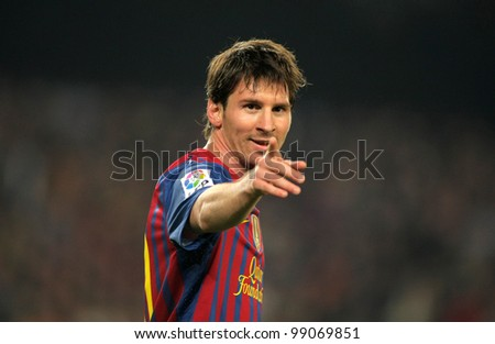 BARCELONA - MARCH 31: Leo Messi of FC Barcelona in action during the Spanish league match against Athletic Club Bilbao at the Camp Nou stadium on March 31, 2012 in Barcelona, Spain - stock photo