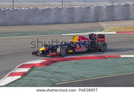 BARCELONA - MARCH 3: Mark Webber of Red Bull Racing  F1 team racing during Formula One Teams Test Days at Catalunya circuit on March 3, 2012 in Barcelona, Spain.