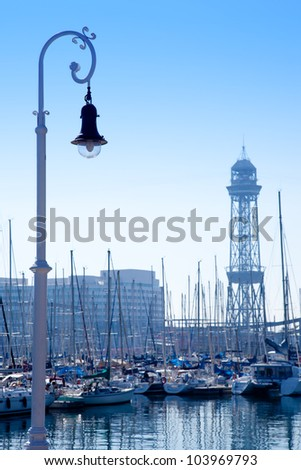 Barcelona marina port with teleferic tower and boats