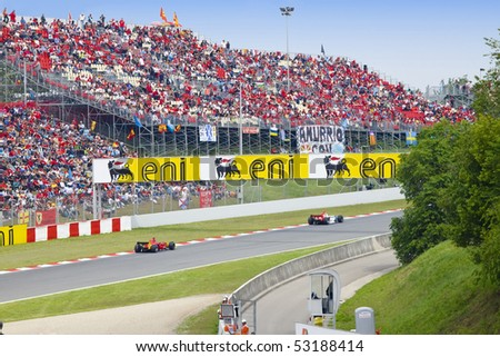 BARCELONA - MAY 9: Automobiles of stage are fleet GP2 on line and tribunes, full fans on may 9, 2010  in Barcelona, Spain