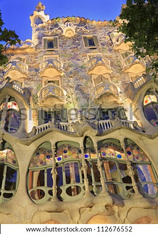 BARCELONA-MAY 30: Casa Batllo at dusk, Barcelona, Spain.Casa Batllo is a key feature in the architecture of modernist Barcelona and was built by Antoni Gaudi between 1904-1906, shot on May 30, 2012.