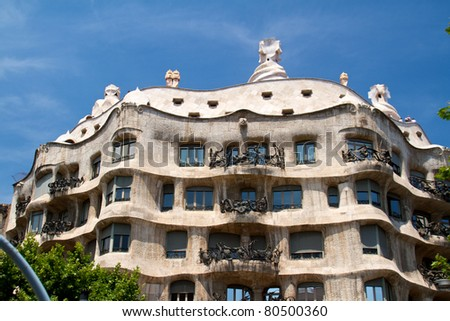 BARCELONA - MAY 26: Casa Mila La Pedrera builbing on May 26, 2011 in Barcelona. Casa Mila is one of buildings created by Antonio Gaudi. It is very popular landmark in Barcelona.
