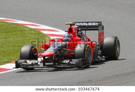 BARCELONA - MAY 12: Charles Pic of Marussia F1 team racing at Qualifying Session of Formula One Spanish Grand Prix at Catalunya circuit, on May 12, 2012 in Barcelona, Spain.