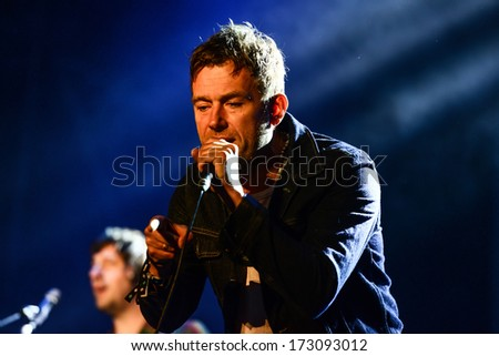 BARCELONA - MAY 24, 2013 - English brit-pop band Blur performs at Primavera Sound 2013 Festival on May 24, 2013 in Barcelona, Spain.