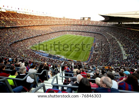 BARCELONA - MAY 8: FC Barcelona stadium, Camp Nou, during the match between FC Barcelona and RCD Espanyol at the Nou Camp Stadium on May 8, 2011 in Barcelona, Spain - stock photo