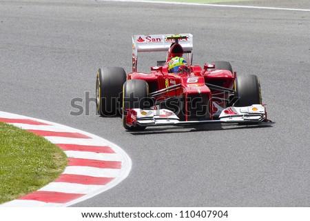 BARCELONA - MAY 12: Felipe Massa of Ferrari F1 team racing at Qualifying Session of Formula One Spanish Grand Prix at Catalunya circuit, on May 12, 2012 in Barcelona, Spain.