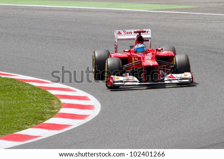 BARCELONA - MAY 12: Fernando Alonso of Ferrari F1 team racing at Qualifying Session of Formula One Spanish Grand Prix at Catalunya circuit, on May 12, 2012 in Barcelona, Spain.