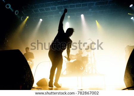 BARCELONA - MAY 6: Future Islands (synthpop electronic dance band) perform in concert at Razzmatazz venue on May 6, 2017 in Barcelona, Spain. #782867002