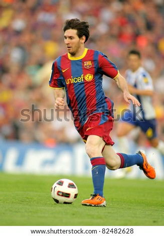 BARCELONA MAY 8 Leo Messi of FC Barcelona during the match between FC Barcelona and RCD Espanyol at the Nou Camp Stadium on May 8 2011 in Barcelona Spain
