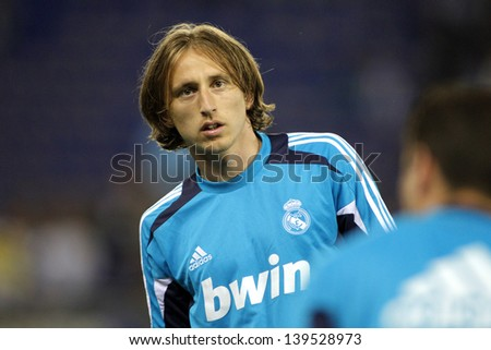 BARCELONA - MAY, 11: Luka Modric  of Real Madrid before the Spanish League match between Espanyol and Real Madrid at the Estadi Cornella on May 11, 2013 in Barcelona, Spain