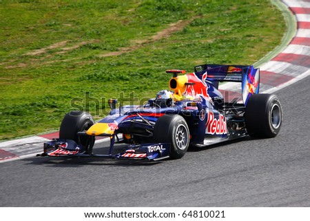 BARCELONA - MAY 9: Mark Webber (Red Bull). Spanish Grand Prix Catalunya Barcelona Circuit. May 9, 2010 in Barcelona (Spain).