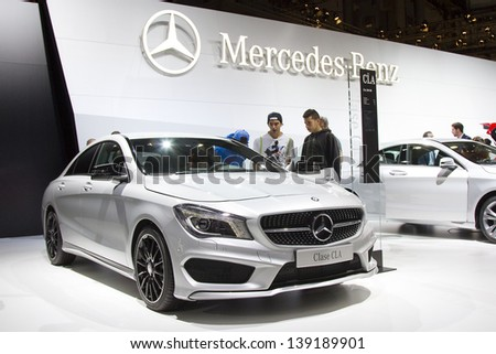 BARCELONA - MAY 17: Mercedes Benz CLA at Barcelona International Motor Show - Salon Internacional del Automovil, one of the five major shows in the world, on May 17, 2013, in Barcelona, Spain.