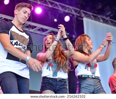 BARCELONA - MAY 23: People dance a choreography at the Primavera Pop Festival of Badalona on May 18, 2014 in Barcelona, Spain.