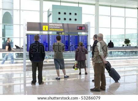 BARCELONA - MAY 9: People wait for flight on May 9, 2010 in Barcelona, Spain. Flights are canceled because of volcanic eruption.