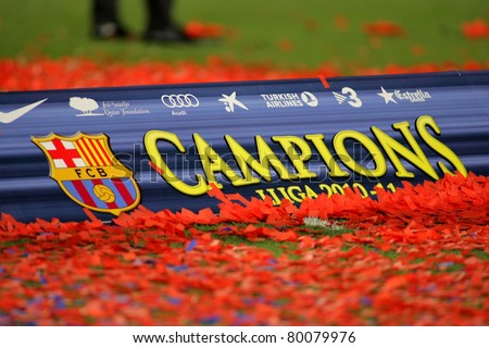 BARCELONA - MAY 15: Poster of FC Barcelona league championship winners after the celebration at Nou Camp Stadium in Barcelona, Spain May 15, 2011