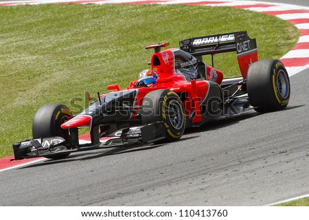 BARCELONA - MAY 12: Timo Glock of Marussia F1 team racing at Qualifying Session of Formula One Spanish Grand Prix at Catalunya circuit, on May 12, 2012 in Barcelona, Spain.