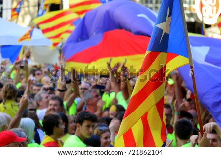 Barcelona 11.09.2017, National Day of Catalonia. Festive playful demonstration to claim independence. #721862104