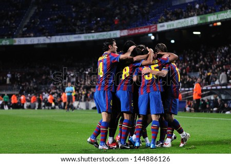 BARCELONA NOV 10 Bojan Krkic F.C Barcelona player celebrates his goal against Cultural Leonesa at the Camp Nou Stadium on the Spanish Cup Copa del Rey on November 10 2009 in Barcelona Spain