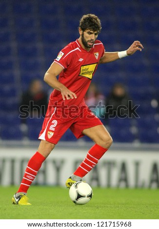 BARCELONA - NOV, 28: Federico Fazio of Sevilla goal during a King's Cup match between Espanyol and Osasuna  at the Estadi Cornella on November 28, 2012 in Barcelona, Spain - stock photo