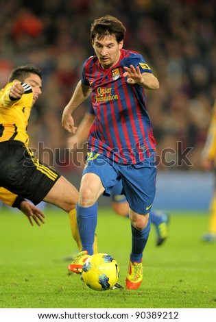 BARCELONA - NOV, 19: Leo Messi of FC Barcelona during the spanish league match against Real Zaragoza at the Nou Camp Stadium on November 19, 2011 in Barcelona, Spain