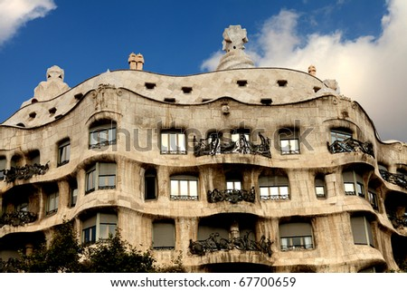 BARCELONA - OCT 14: Casa Mila in Barcelona, Spain, designed by architect Antoni Gaudi referred to as Catalan Modernisme  architecture in Barcelona on October 14, 2010 in Barcelona, Spain