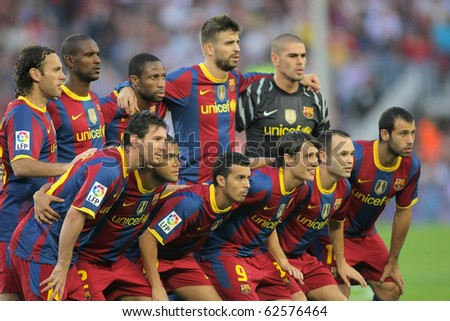 BARCELONA OCT 3 Futbol Club Barcelona Team before the match between FC Barcelona and Mallorca in Nou Camp Stadium in Barcelona Spain October 3 2010