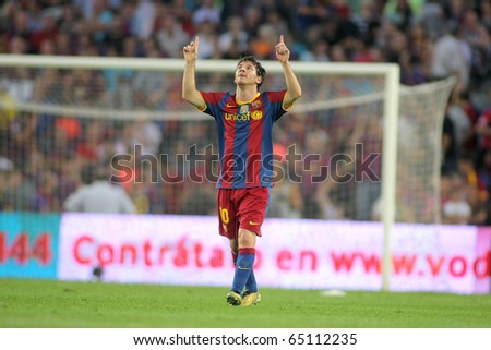 BARCELONA OCT 3 Leo Messi of FC Barcelona celebrates goal during spanish league match between FC Barcelona and RCD Mallorca at Nou Camp Stadium in Barcelona Spain October 3 2010