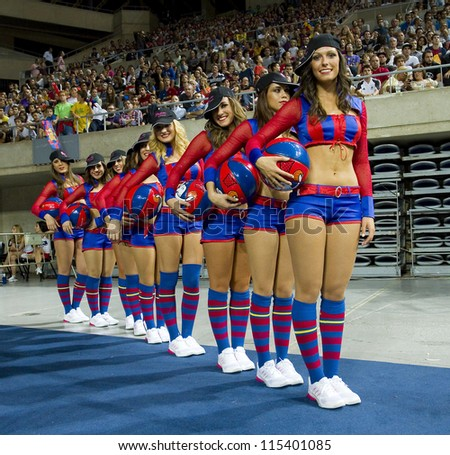 BARCELONA - OCTOBER 9: Barcelona cheerleaders perform at FC Barcelona vs Dallas Mavericks friendly match, final score 99-85, on October 9, 2012, in Palau Sant Jordi stadium, Barcelona, Spain.