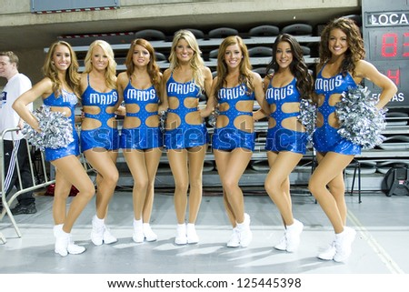 BARCELONA - OCTOBER 9: Dallas cheerleaders at FC Barcelona vs Dallas Mavericks friendly match, final score 99-85, on October 9, 2012, in Palau Sant Jordi stadium, Barcelona, Spain.