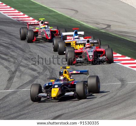 BARCELONA - OCTOBER 9: Jean Eric Vergne (5) and Daniel Zampieri (25) racing at Formula Renault 3.5 World Series, on October 9, 2011, in Circuit de Catalunya, Barcelona, Spain. #91530335