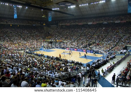 BARCELONA - OCTOBER 9: Some players in action at FC Barcelona vs Dallas Mavericks  friendly match, final score 99-85, on October 9, 2012, in Palau Sant Jordi stadium, Barcelona, Spain.