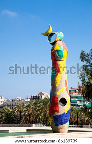 BARCELONA - OCTOBER 1. The statue 'Woman & Bird' by Joan Miro, on October 1., 2011 in  Miro square Barcelona, Spain.