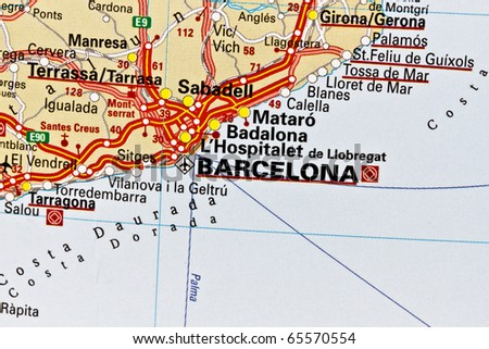 Barcelona on a map closeup