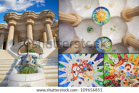 Barcelona Park Guell of Gaudi mosaic in the Hundred Columns Chamber