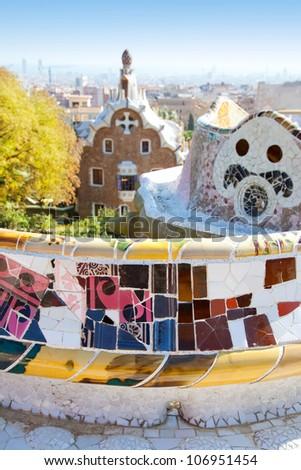 Barcelona Park Guell of Gaudi tiles mosaic serpentine bench modernism