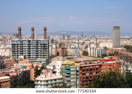 Barcelona rooftops. Aerial view seen from Montjuic hill. Mediterranean architecture.
