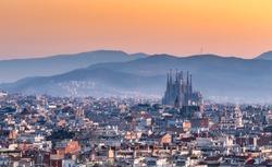 Barcelona,Sagrada familia at sunrise.Spain