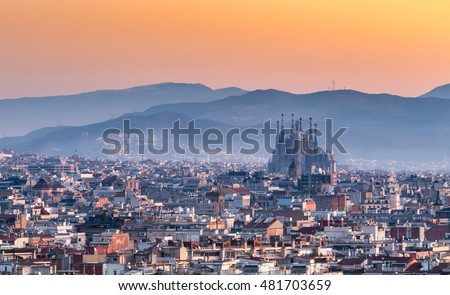 Barcelona,Sagrada familia at sunrise.Spain #481703659