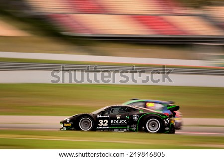 BARCELONA SAPIN SEP 7 Team formed by Jonathan Sicart and Dimitri Enjalbert races in a Ferrari 458 GT3 in the 24 Hours of Barcelona at Catalunya Circuit on Sep 7 2014 in Barcelona Spain