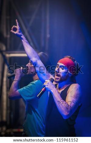 "BARCELONA - SEP 22: Spanish singer Macaco performs at the ""Hard Rock Rocks La Merce"" concert within La Merce celebrations on September 22, 2012 in Barcelona, Spain"