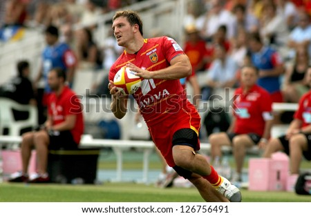 BARCELONA - SEPT, 15: Adrien Plante of USAP Perpignan in action during the French rugby union league match USAP Perpignan vs Stade Toulousain at the Olympic Stadium in Barcelona, on September 15, 2012
